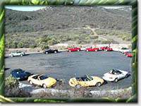Circle of Miatas during Surf 'N' Safari '99 (Photo by Mark Booth)